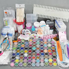 AU 96 Acrylic Powder Liquid Nail Art Kit Glitter UV Gel Glue Tips Brush Set NEW