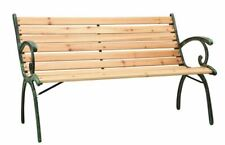 4 Seater Wooden Bench Iron Frame Outdoor Garden Porch Patio Park Chair Furniture