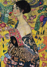 Gustav Klimt Lady Woman with Fan art Nouveau Canvas Print