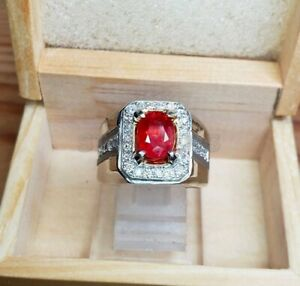 Natural Ruby Gemstone In 925 Sterling Silver Ring for Men's Engagement Rings