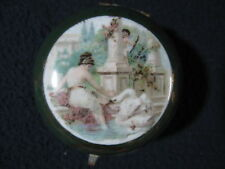 Cloisonne Enamel Round Pot with Clasp Lid Woman with Swan - Incl. Shipping!