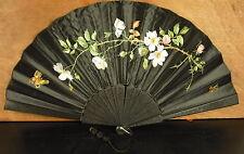 Large éventail en soie 1900  signé silk Fan Faecher Ventaglio seda abanico 风扇
