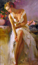 Fine oil painting nice young lady girl seated on sofa in white Evening dress