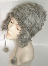 NEW womens Pompon Real Rabbit Fur Grey Winter Hat soft and warm one size