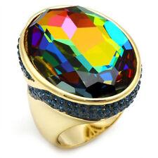 Ladies Huge Rainbow Stones Gold Plated Hematite Ring Size 7