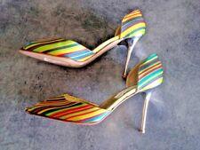 Scarpe De Pasquale Vecchietti tessuto righe multicolor open toe T.39