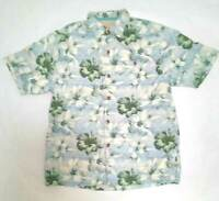 Tommy Bahama Mens Silk Hawaiian Button Up Shirt Original Fit Blue Size Medium