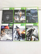 6 Xbox 360 Video Games Lot - Halo 3, Skyrim, Watch Dog, Fighters, Battlefield