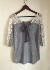 A'reve Anthropologie Tie Back High Low Top Gray Lace Sleeves Size M