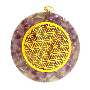 Amethyst Orgone Pendant Copper Orgonite Reiki Energy Generator Necklace HANDMADE