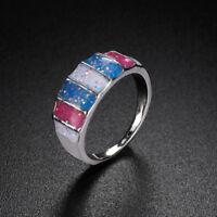 Australian Opal Multicolor Fire Opal Ring Anniversary Ring Jewelry Size 5 - 12