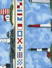 """Timeless Treasures Lighthouse Stripe Blue 100% cotton Fabric Remnant 24"""""""