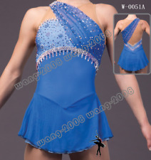 Ice Figure skating dress/Twirling outfit/Dance Costume Made to Fit Blue Y063