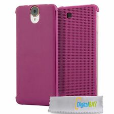 CUSTODIA COVER CASE DOT VIEW FLIP VIOLA per HTC ONE E9+ E9 PLUS