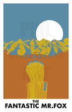 Original Fantastic Mr. Fox Art Print Wes Anderson Life Aquatic Blu Movie Poster