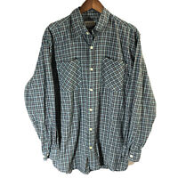 Carhartt Red White Blue Plaid Long-Sleeve Button-down Flannel Shirt Mens Large
