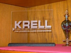 KRELL AUDIO ETCHED GLASS SIGN W/BLACK OAK BASE
