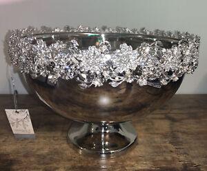 David Tutera Silver Serving Pedestal Bowl Rhinestone Floral Trim Large NWT