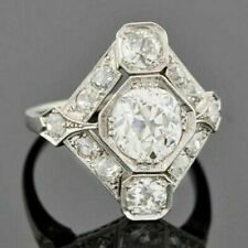 Cubic Zirconia White Wedding Ring 925 Silver Art Deco Vintage Round Cut 2.65 Ct