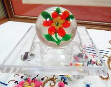 "ANTIQUE CHINESE LAMPWORK RED & YELLOW MILLEFIORI CENTER 2 1/2"" PAPERWEIGHT 1930s"