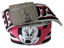 DISNEY MINNIE MOUSE CANVAS BELT WITH METAL EMBOSSED BUCKLE NEW WITH TAGS