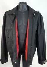 VTG Guess JEANS Jacket Coated Treated Cotton 90's Black Red Mesh MOTO Sz 2XL