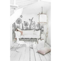 Non-Woven wallpaper  Sketch flowers Black and white floral Wall Home Murals