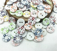 100X Resin Buttons Mixed color 2-holes Lettering Scrapbooking Sewing craft 12mm