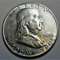 1949 P Franklin Half Dollar AU / BU Uncirculated 90% Silver