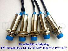 5Pcs NO LJ18A3-8-Z/BY Inductive Proximity Sensor Switch PNP DC6V-36V US