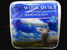 - NEW - Pure 100% 500gsm Australian Wool Queen Quilt/Doona/Blanket
