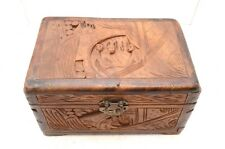 """Antique Vintage Art Chinese Old Wood Handmade Jewelry Box treasure chest 11.5"""""""