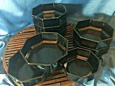 "7 +1 Vintage France Arcoroc 5.75""  Black Octogon Soup Salad Bowls  1 small bowl"