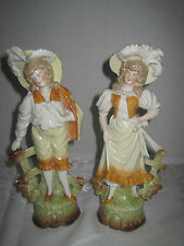 "Pair Antique German Porcelain Bisque Figurines Man & Woman 9"" Set Numbered"