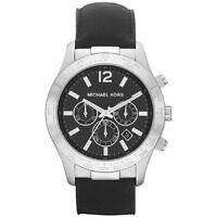 Michael Kors Uhr MK8215 Herren Chronograph Leder Schwarz Armbanduhr Datum NEU