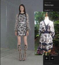 Balenciaga Black & White Floral Prints Silk Kimono Dress I36 XS-S