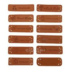12pcs PU Leather Tags On Clothes Garment Labels For Jeans Bags Shoes Sewing E0Xc