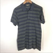 Burberry London Size Large Grey Blue Stripped Polo Mens Casual Top