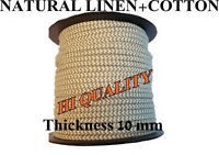 Cotton and Linen Rope Line Hemp Natural Craft Twisted Twine Braided Cord 10mm