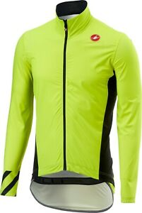 Castelli Men's Pro Fit Cycling Rain Jacket -SUPER BRIGHT NEON YELLOW- Size Large