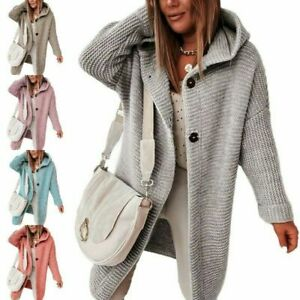 Ladies Warm Sweater Sleeve Cardigan Women Solid Long Hooded Casual Coat Jacket~