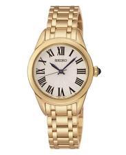 Seiko srz384p1 Damen Gold Ton Edelstahl Quarz 50m Dress Watch RRP £ 179