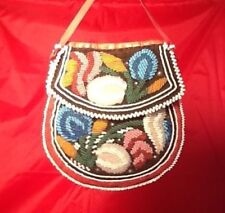 Vintage Iroquois Mohawk Beaded Bag Circa early 1900's Beaded Front/Back In Mint