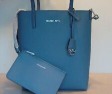 NWT Michael Kors Hayley Larg Signature PVC NS Tote/Shoulder Bag Denim Blue Pouch