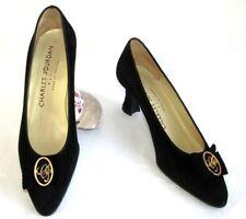 CHARLES JOURDAN Court shoes vintage leather black velvet 5.5 36 MINT