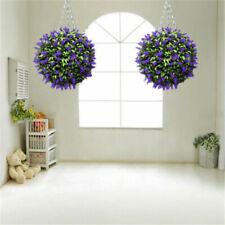 Artificial Lavender Hanging Topiary Ball Purple Flower Plant Decor Basket Pot