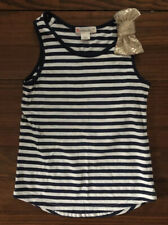 J.Crew Crewcuts Toddler Girl Navy Blue & White Striped Tank with Gold Bow - Sz 3
