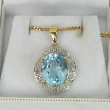 Grand 5.00ct ct Topaze bleu & Diamant 9 CT or pendentif & 46cm chaîne f1532