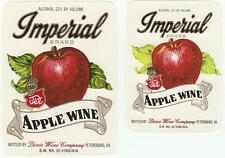 2 Vintage Imperial Brand Apple Wine Labels Dixie Wine Co. Petersburg, Virginia
