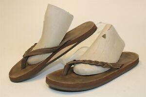 Rainbow Flirty Braidy Mocha Womens 6.5 7 7.5 Leather Flip Flops Sandals Shoes